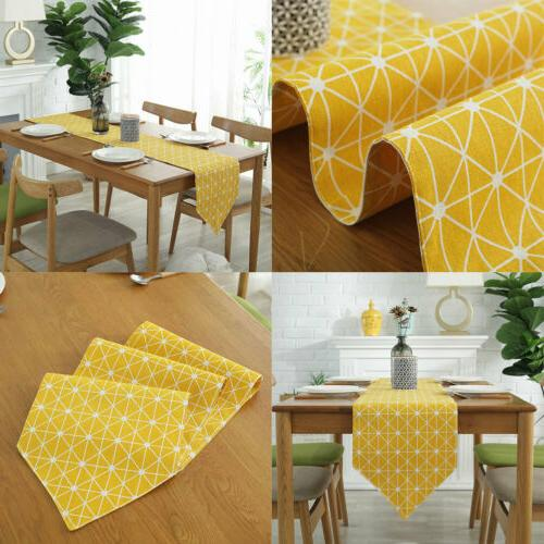 Cotton Plaid Runner Tablecloth Wedding Dining Table Decoration