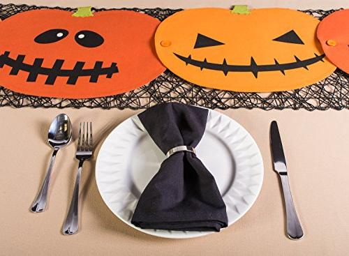 "DII 14x72"" Cotton Runner, Jack Lantern - Dinner and Movie"