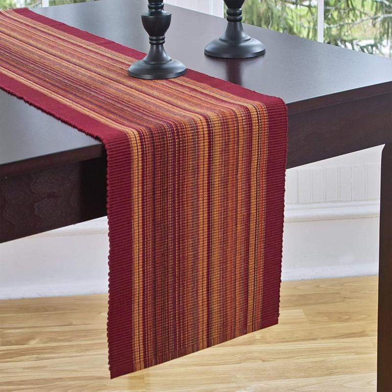 Elrene Home Fashions Table Casual Classic Stripe, Red