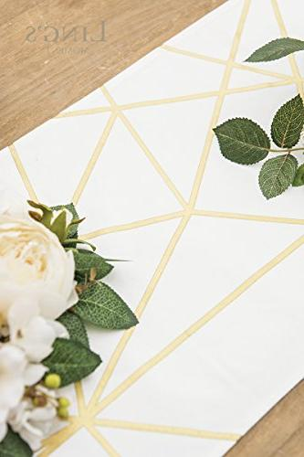 Ling's moment 72 Inches Gold Geometric Pattern Table for Stylish Wedding Party Holiday Table Decor, 100%
