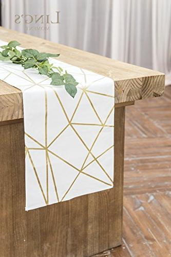 Ling's 72 Gold Geometric for Morden Party Holiday Table Decor, 100% Cotton