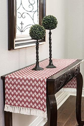 Sticky Table Fringe, Scalloped Red, in 72 in