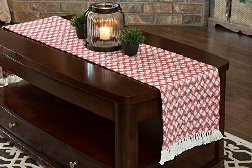 Sticky Toffee Table Runner with Scalloped Red, in 72