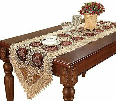 Simhomsen Vintage Gold Burgundy Lace Table and Dresser Floral 16 × 72 Inch