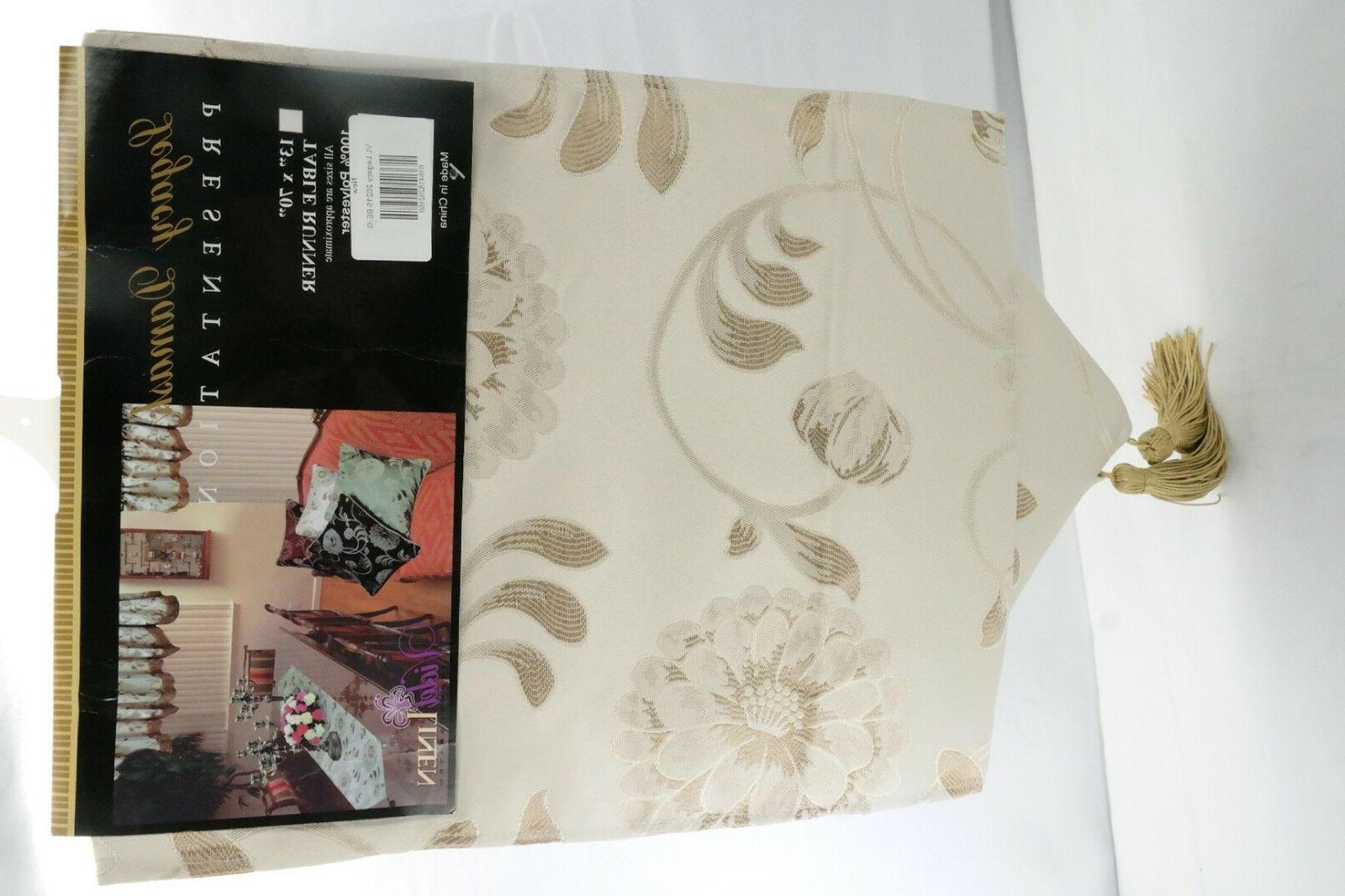 """Damask Table x 70"""" Beige by"""