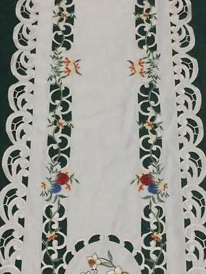 "Easter Floral Embroidered Cutwork 14.5"" Oval"