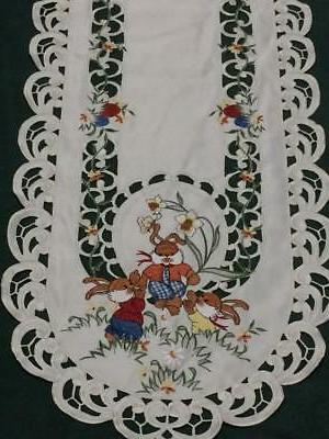 "Easter Bunny Floral Cutwork 14.5"" x Oval Table Runner"