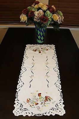 Easter Holiday Chicken Rooster Egg Embroidered Tablecloth Table Placemat