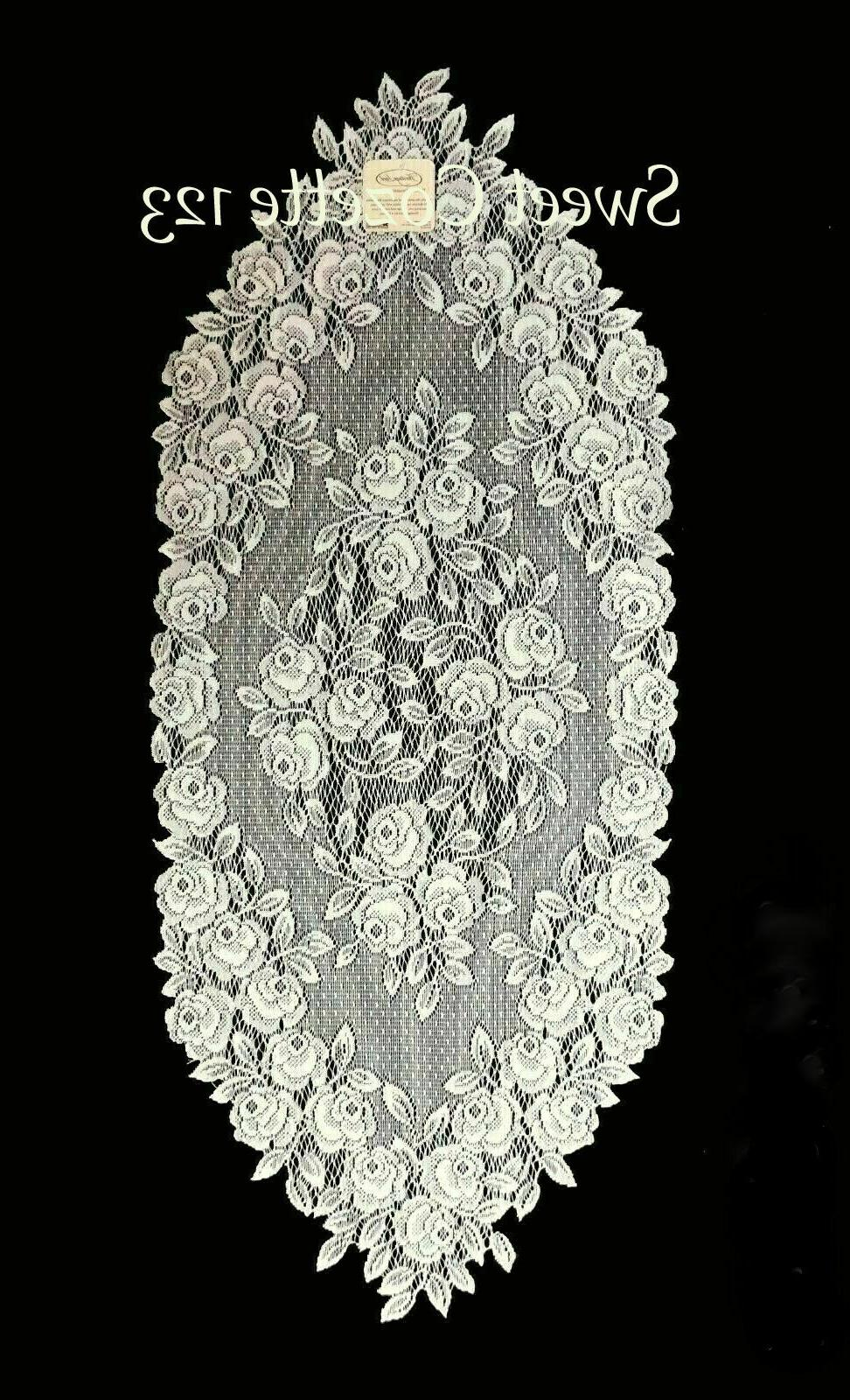 """Heritage Lace ECRU Runner TEA ROSE 14"""" X 36"""" New with Tags"""