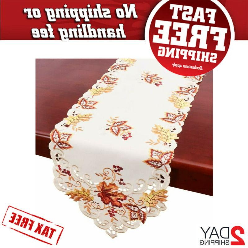 elegant thanksgiving holiday table runner embroidered 15