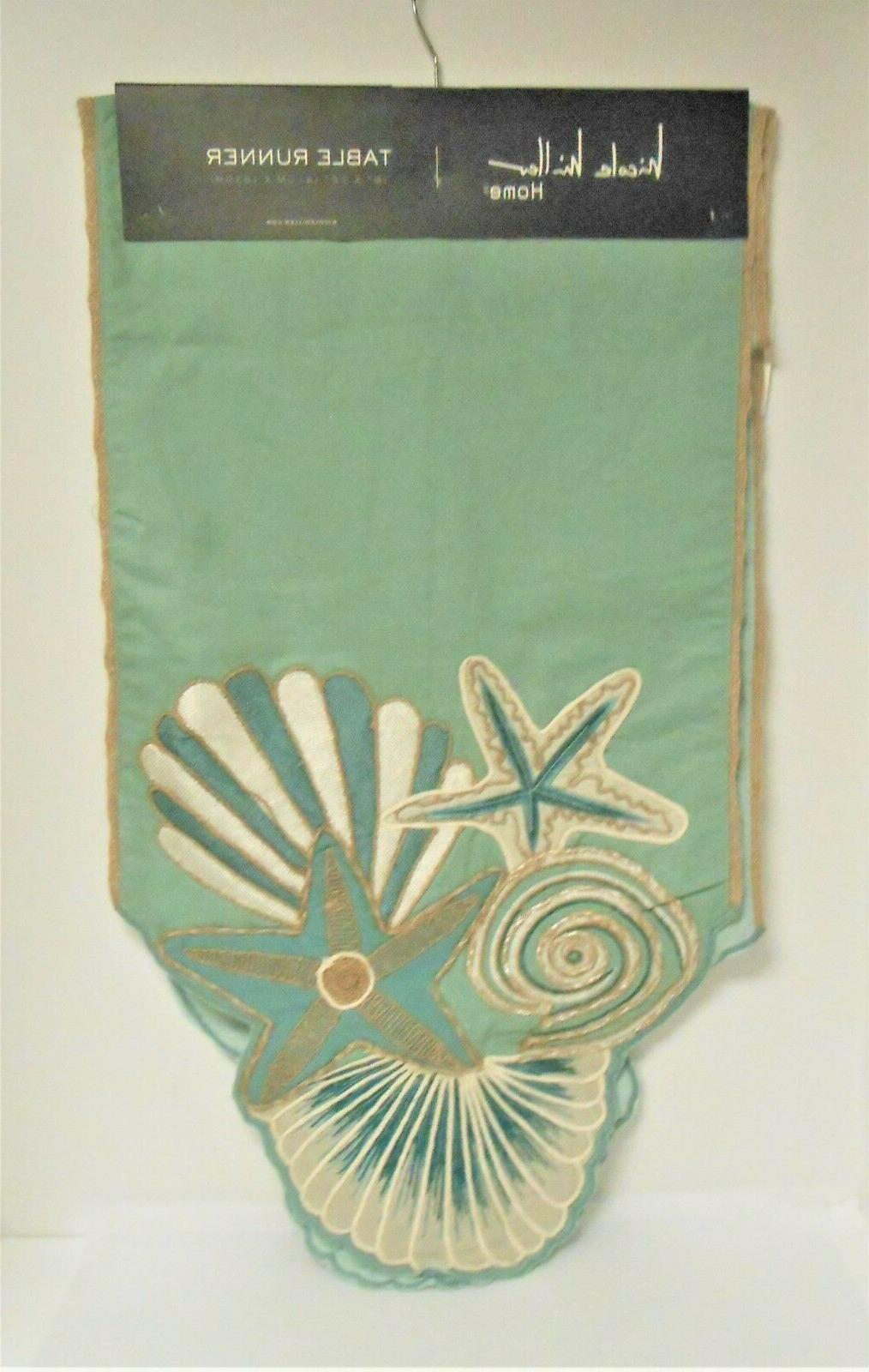 embroidered sea shells and starfish table runner
