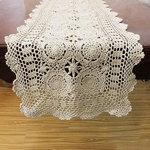 KEPSWET Cotton Lace Table Rectangle