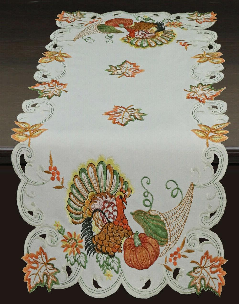 Creative Linens Fall Thanksgiving Turkey Placemats Runner Ivory