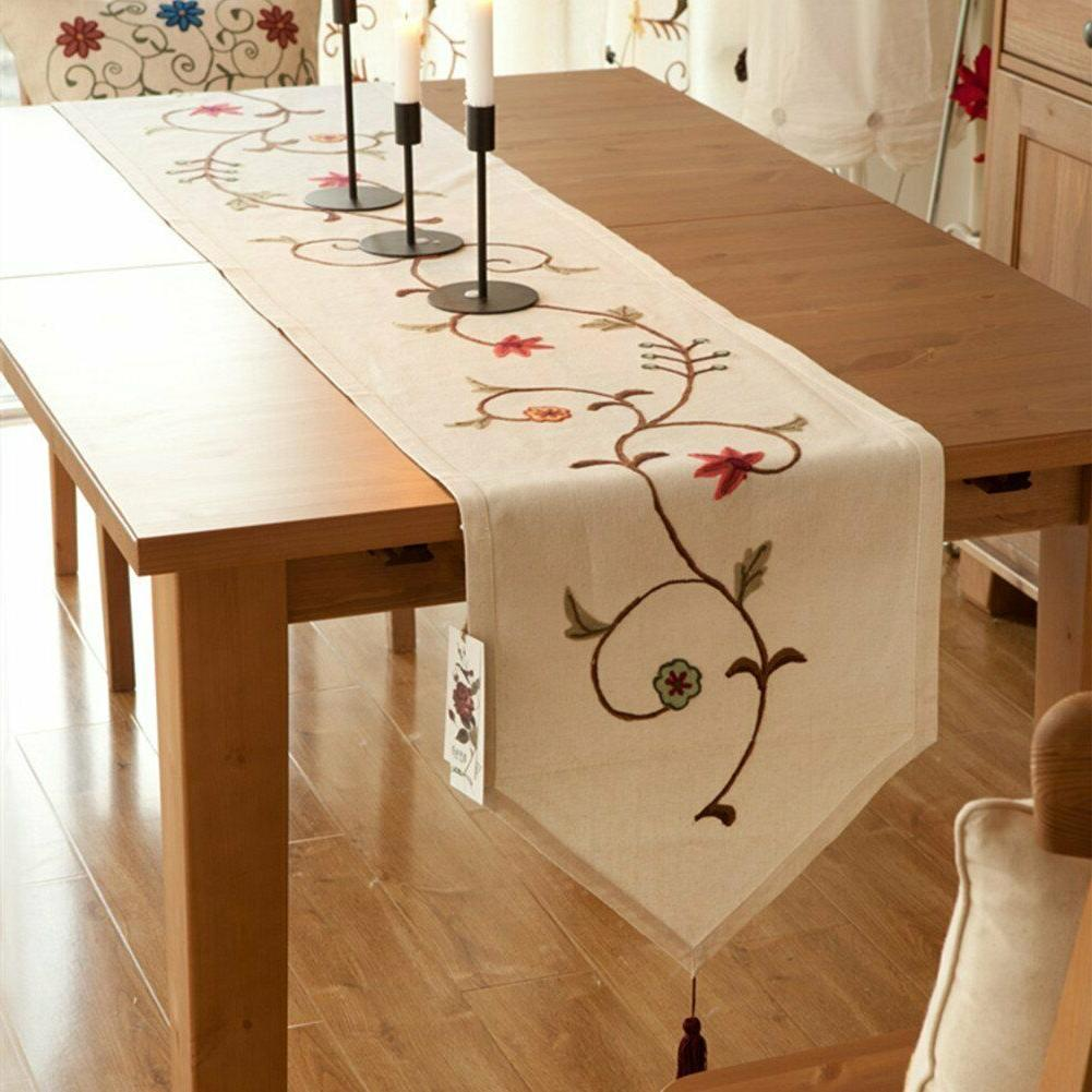 Floral Table Scarf Linen Cotton Dining