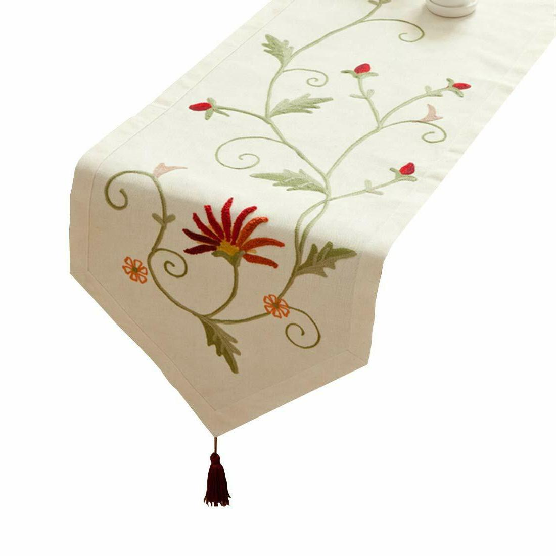Floral Table Runner Scarf Burlap Embroidered Linen Cotton Beige Dining