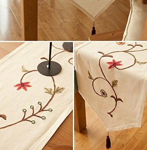 Floral Table Scarf Burlap Embroidered Cotton Dining