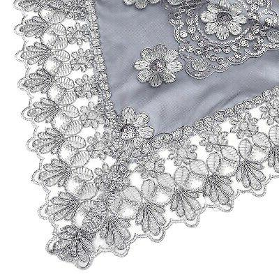 Gray Polyester Lace Runner