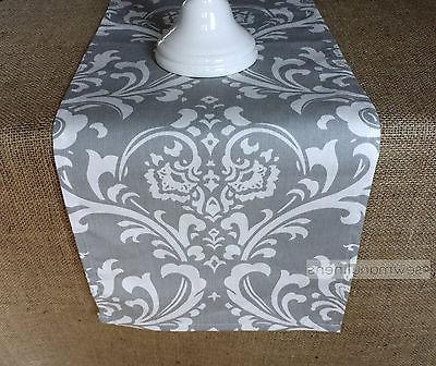 Gray Table Runner Floral Damask Home Decor Linens Dining Roo