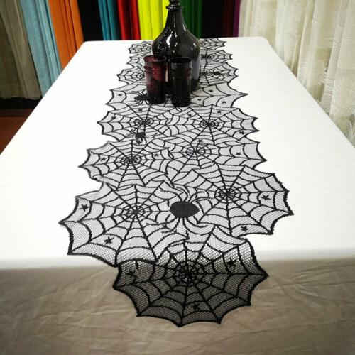 Halloween Black Spider Web Table Party Home US