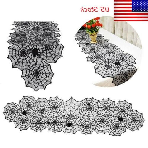 halloween black lace spider web table runner