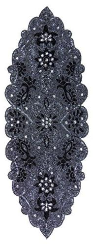 Cotton Craft Beaded Table Runner - Trevi - Platinum - 13x36