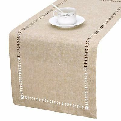 handmade hemstitch beige table runner