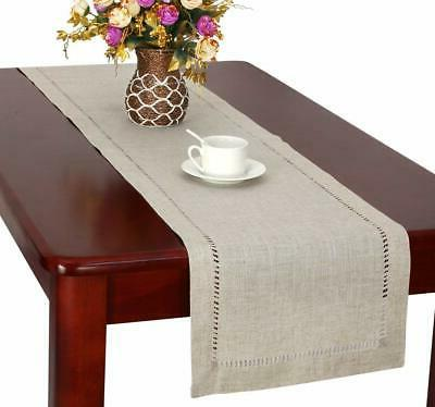 handmade hemstitched natural rectangle lace table runners