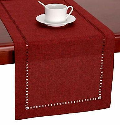 handmade hemstitched polyester rectangle table 14x120 inch