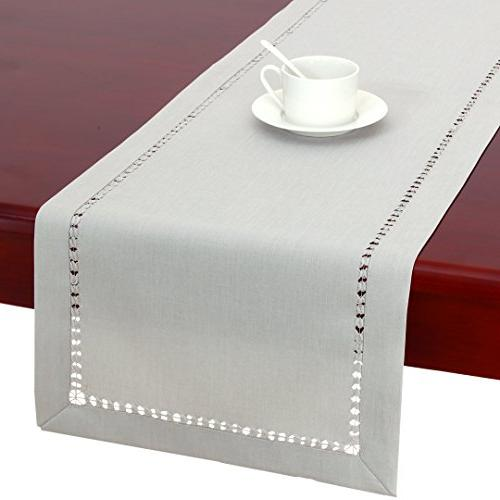 handmade hemstitched polyester rectangle table