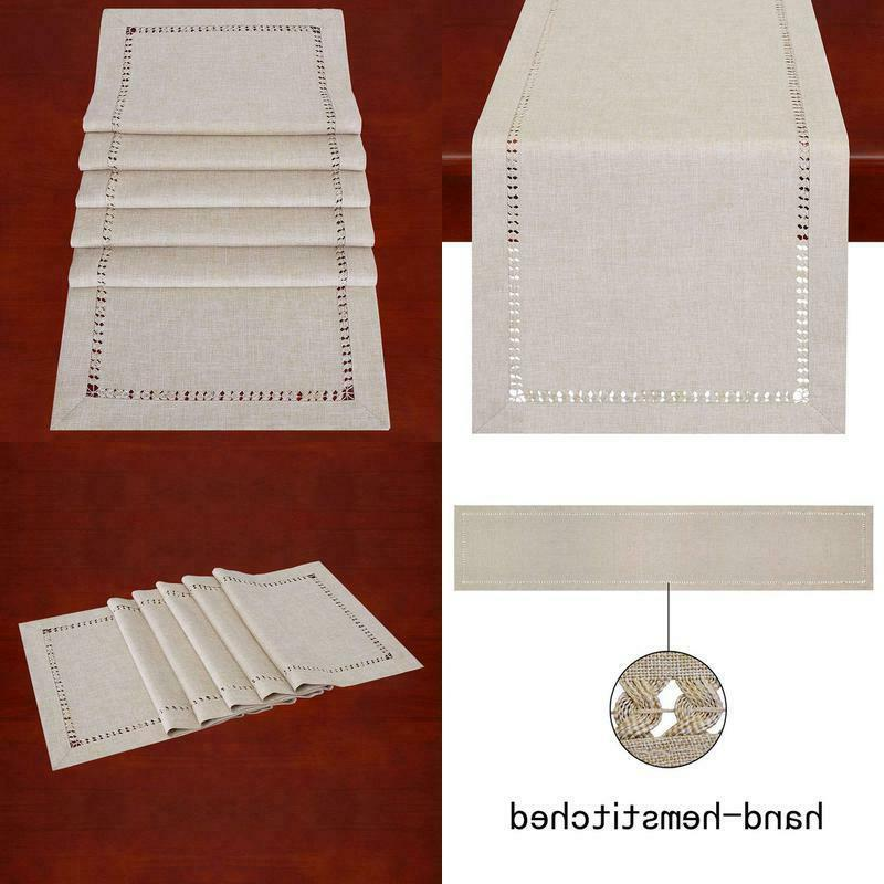 handmade hemstitched polyester rectangle table runners