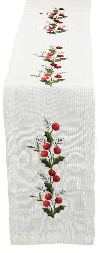 Xia Home Fashions Holly Berry Embroidered Hemstitch Christma
