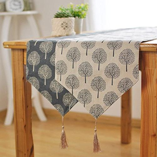Aothpher 12 86 inch Table Pattern Floral Tree Navy Tassel