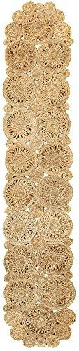 """LR Home Natural Jute Rotary Table Runner, 1'-4"""" x 6'-8"""", 2 P"""