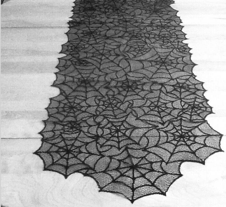 lace table runner mantel scarf halloween black