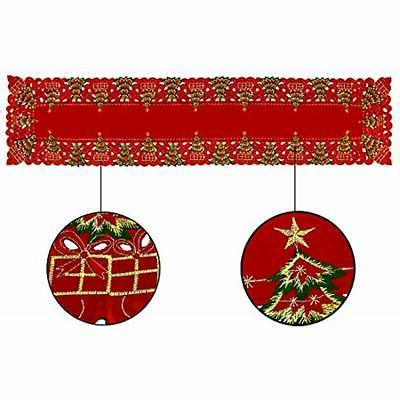 Grelucgo Large Embroidered Christmas Holiday Runner, Dresser 16