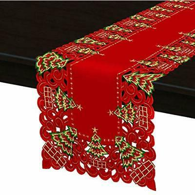 Grelucgo Large Embroidered Holiday Holly Tree Runner,