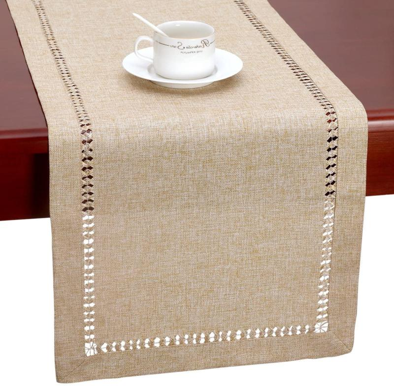 Grelucgo Large Handmade Hemstitch Beige Table Runner, Rectan