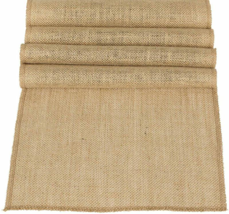 Ling's moment 12 x 108 Inches Jute Farmhouse Table Runner Bu