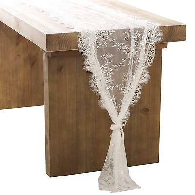 ling's moment 32x120 Inches White Lace Table Runner/Overlay