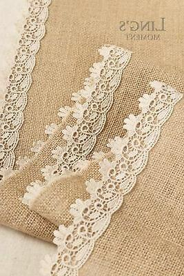 Ling's moment Burlap Table Jute Rustic Dresser Scarf Summer Fa...