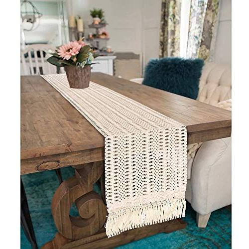 PartyTalk Table Runner Cotton Boho with Tassels for Home 12 x Inch