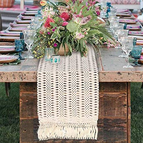 PartyTalk Runner Cotton Lace Boho with Rustic Bridal Home 12 108