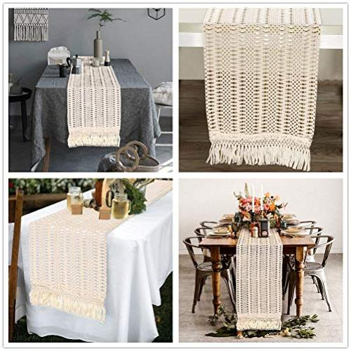 PartyTalk Macrame Runner Boho Table Runner with Rustic Home 12 Inch