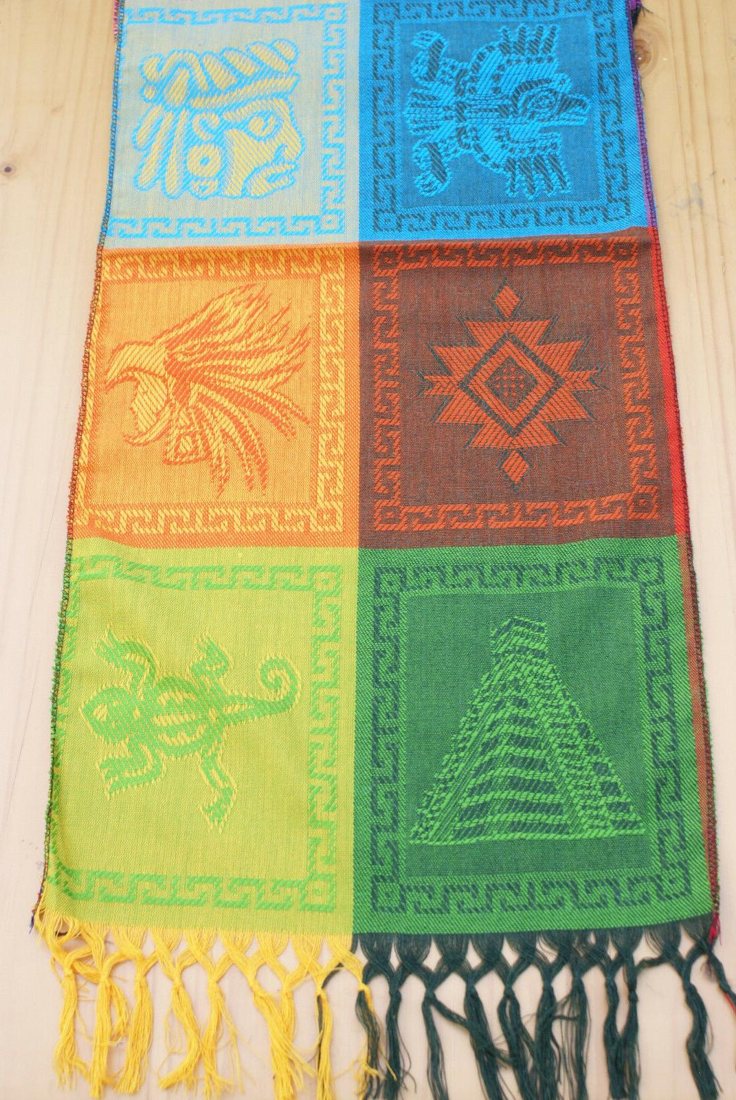Mexican Mayan Table Large Colorful Fringed Tablerunner