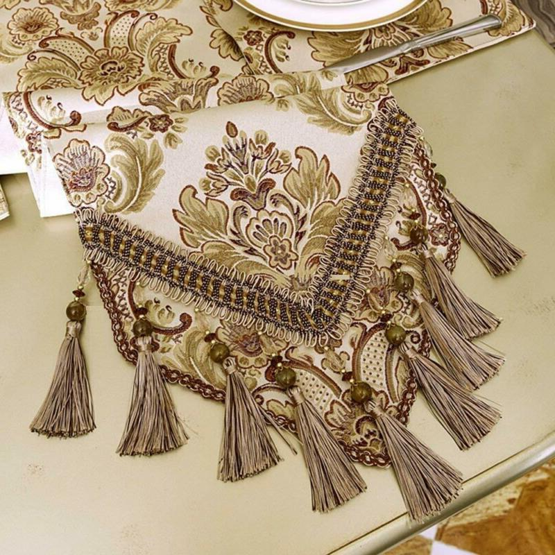 Grelucgo Luxury Lined Damask Table Runners Multi-Tassels