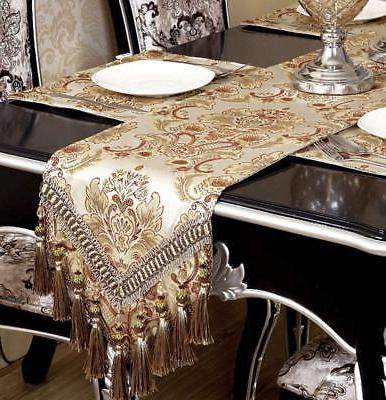 Fabric Floral Runners and Dresser Scarves with Multi-Tassels,