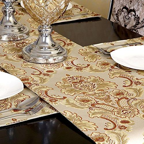 GRELUCGO Modern Luxury Fabric Floral Runners and Dresser with