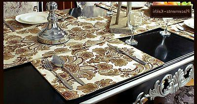 Grelucgo Fabric Floral Table Placemats Set...