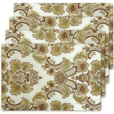 modern luxury jacquard fabric floral table placemats