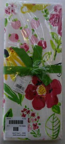 "NWT Tag 72"" Dining Table Runner Fabric Fresh Flower Garden H"
